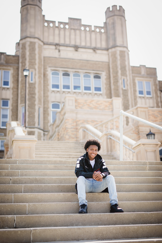 mckoy graduation photos sitting on stairs