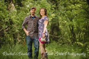 rachel and david engagement photos in the woods