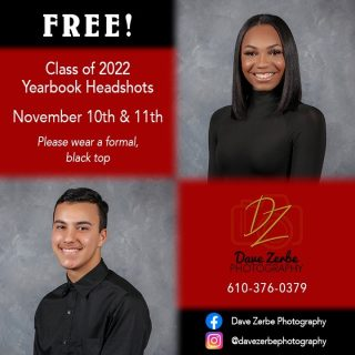 Attention Red Knight Seniors! It's senior yearbook portrait time!!This year we are moving the Senior Yearbook Portraits to the High School on November 10th & 11th during the school day. Students will be required to wear a black formal top. Keep in mind, these are COMPLETELY FREE!!!Keep an eye out for more information as it becomes available.@reading_school_district_pa @redknightpride @rhskey_club